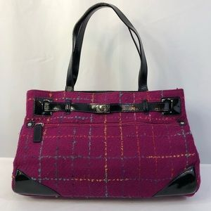 ECHO purple tweed wool leather & suede bag